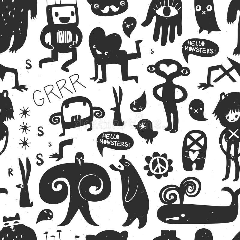 Monstres et phénomènes d'encre de vintage Configuration sans joint illustration de vecteur
