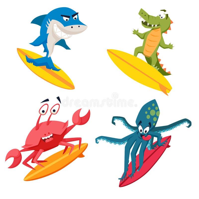 Monstres frais de surfer illustration de vecteur