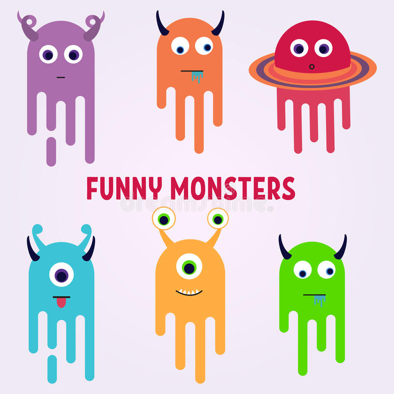 Monstres intelligents de bande dessinée réglés Monstre mignon de jouet coloré drôle Vecteur ENV 10 illustration stock