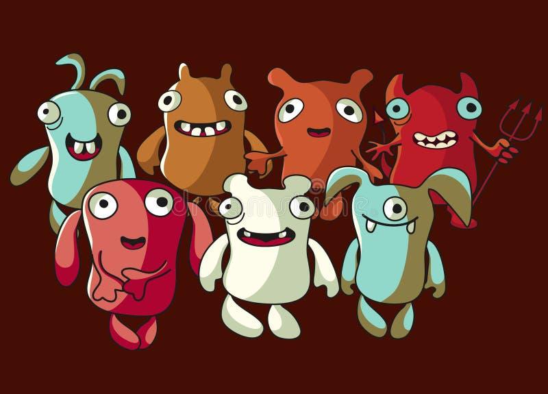 Monstres mignons illustration de vecteur