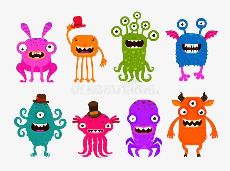 Monstres mignons de bande dessinée d'amusement Placez l'illustration de vecteur d'icônes illustration stock
