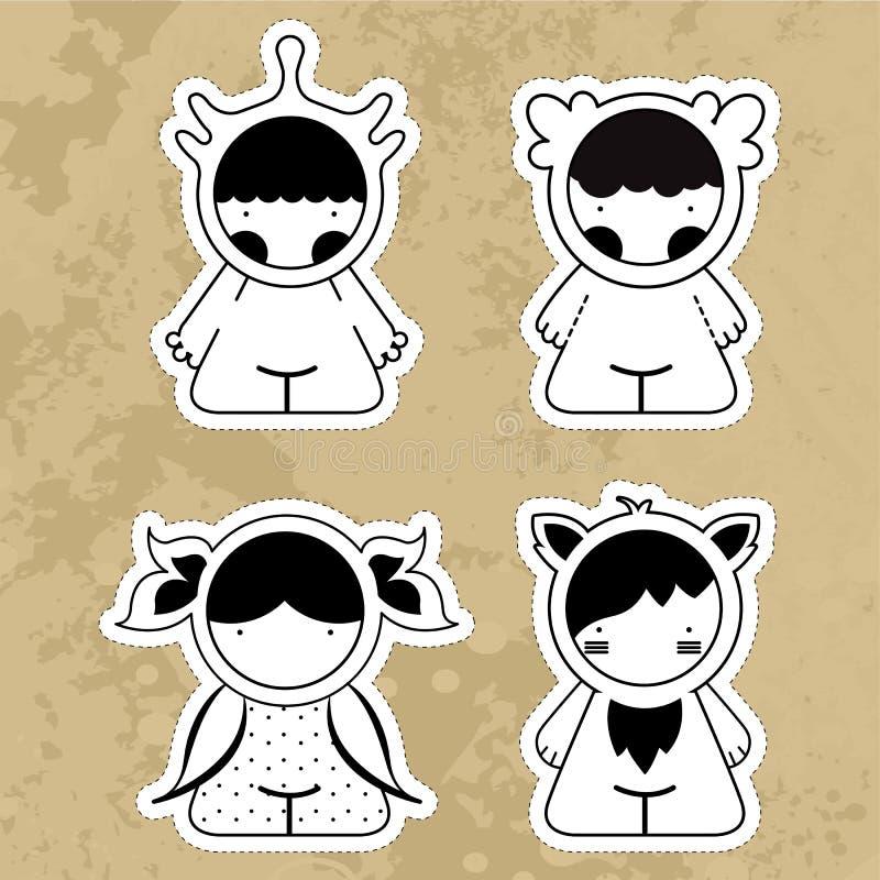 Monstres mignons de bande dessinée de Sset Filles d'illustrations de vecteur image stock