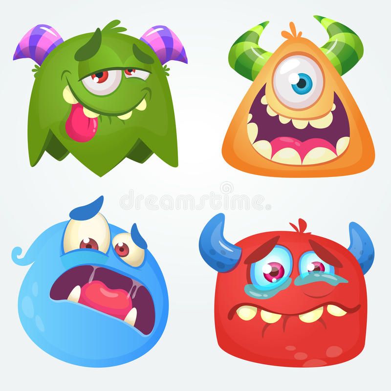 monstres mignons de dessin animé Ensemble de vecteur de 4 icônes de monstre de Halloween illustration libre de droits