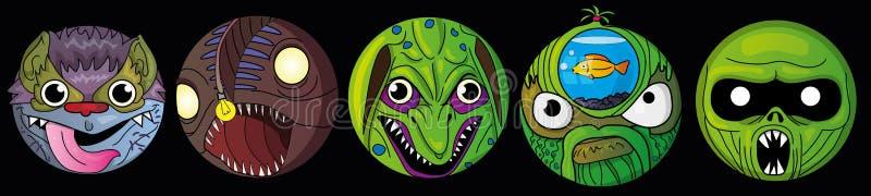 Monstres mignons de Halloween de personnages de dessin animé illustration stock