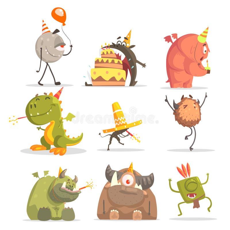 Monstres sur la fête d'anniversaire dans des situations drôles illustration stock
