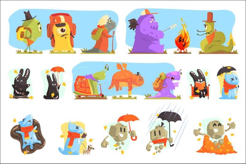 Monstres trimardant et campant Caractères colorés de créatures géniales avec marcher dehors illustration stock