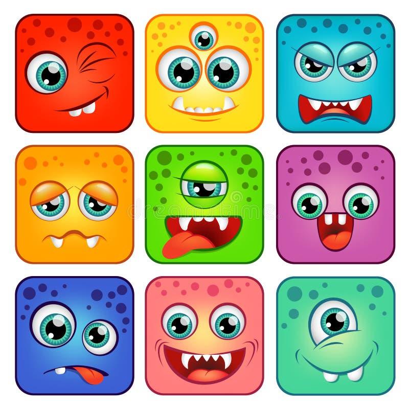 monstres Visages carrés de bande dessinée avec des émotions illustration stock