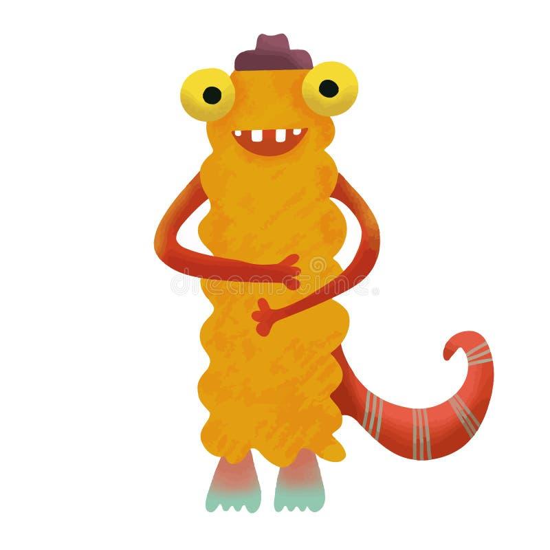 Monstro adorável bonito feliz do monstro Personagem de banda desenhada engra?ado Animal bonito da fantasia Aquarela do vetor Proj ilustração do vetor