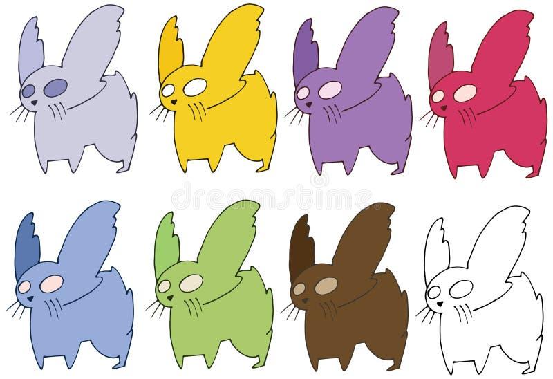 Monstro ajustado engraçado da tração da mão da cor do rato da garatuja dos desenhos animados da cópia ilustração stock