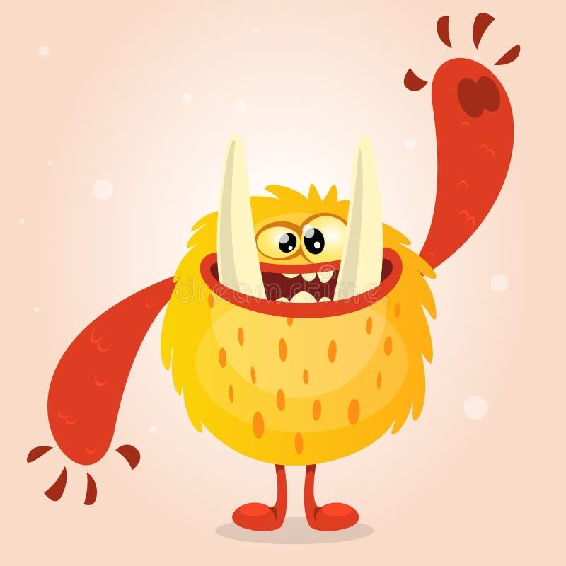 Monstro alaranjado feliz Caráter do monstro de Dia das Bruxas do vetor que sorri e que acena Vetor no fundo claro ilustração royalty free