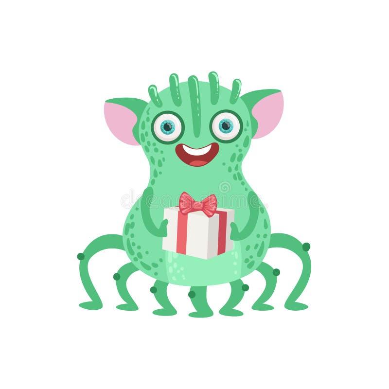 monstro amigável Muito-equipado com pernas com presente ilustração royalty free