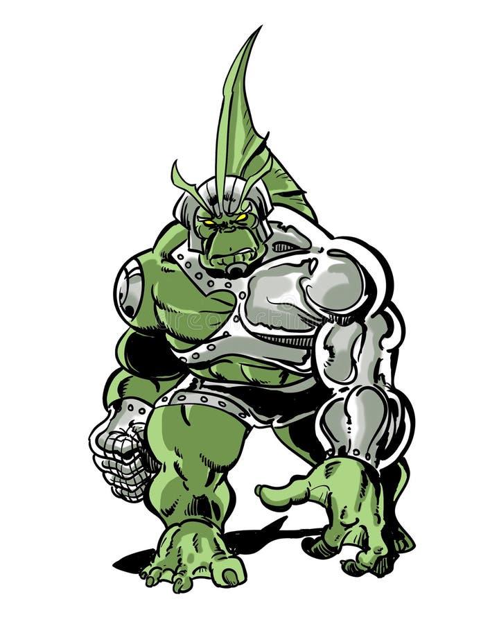 Monstro anfíbio ilustrado banda desenhada dos peixes do cyborg ilustração stock