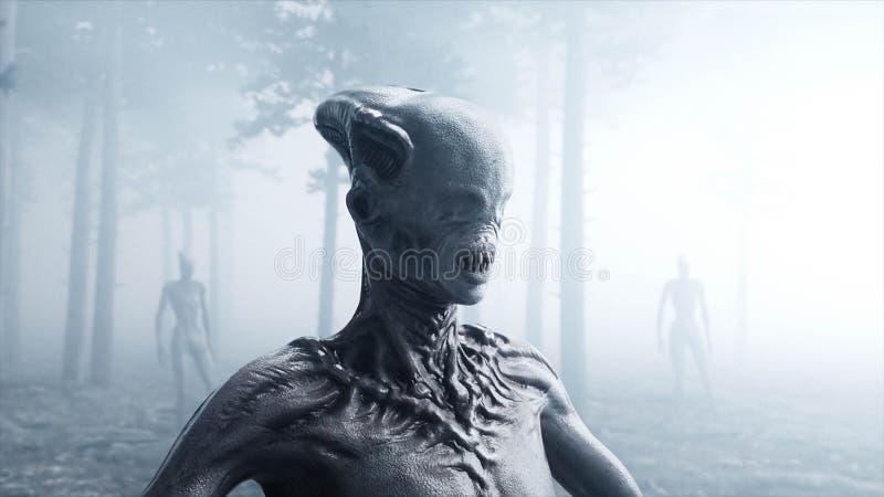 Monstro assustador no medo e no horror da floresta da noite da névoa Mistic e conceito do UFO rendição 3d ilustração stock