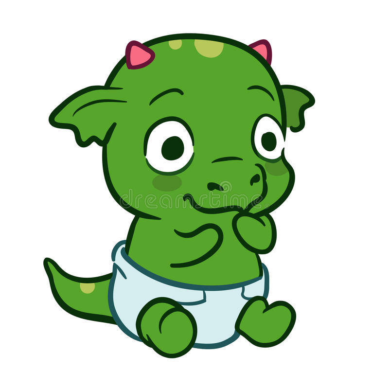 Monstro bonito do dragão do bebê dos desenhos animados ilustração do vetor