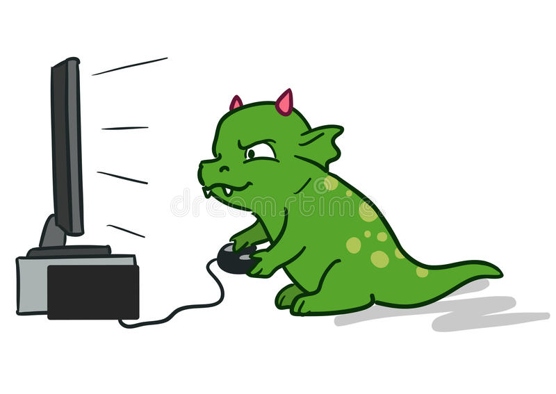 Monstro bonito do dragão dos desenhos animados que joga jogos de vídeo ilustração do vetor