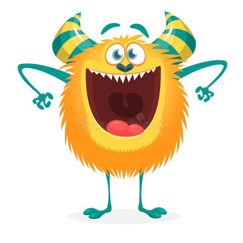 Monstro bonito dos desenhos animados excitado com boca aberta ilustração royalty free