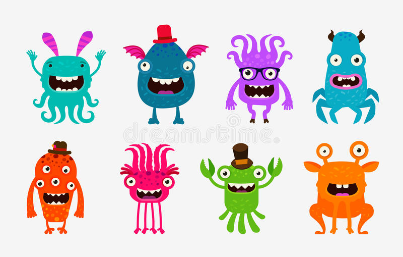 Monstro bonitos dos desenhos animados Grupo do estrangeiro ou do fantasma de ícones Ilustração do vetor ilustração stock