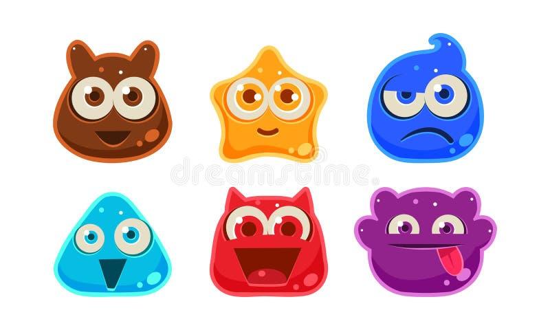 Monstro coloridos engraçados bonitos grupo da geleia, ativos da interface de usuário para apps móveis ou ilustração do vetor dos  ilustração stock