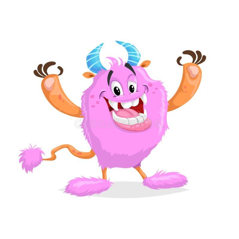 Monstro cor-de-rosa alegre dos desenhos animados bonitos Caráter cômico de sorriso fluffed grande da cara com chifres e cauda S?m ilustração royalty free