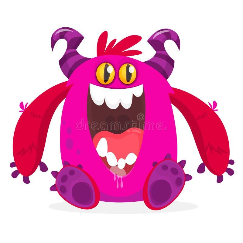 Monstro cor-de-rosa com fome dos desenhos animados excitado ilustração royalty free