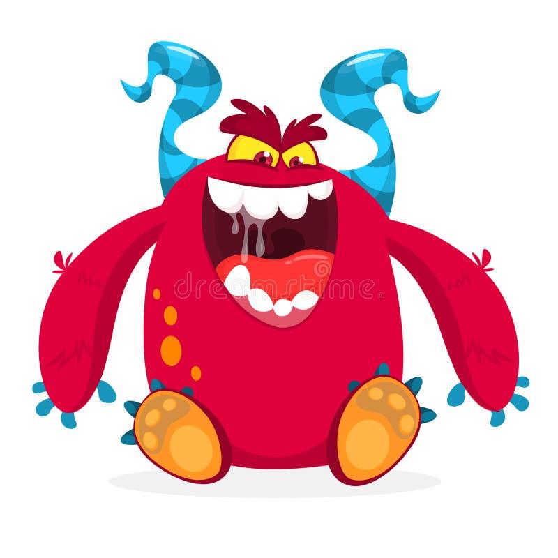 Monstro cor-de-rosa com fome dos desenhos animados com os chifres azuis excitados ilustração do vetor