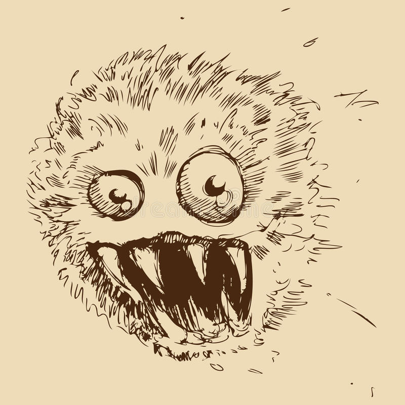 Monstro da esfera da poeira ilustração do vetor