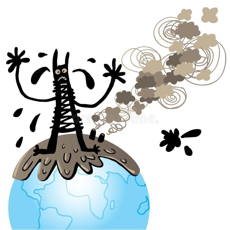 Monstro da poluição ilustração stock