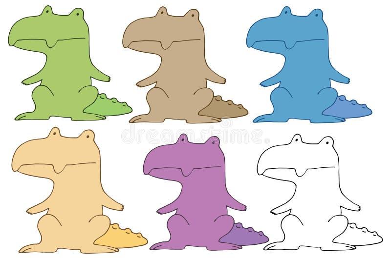 Monstro da tração da mão do grupo de cor da garatuja dos desenhos animados do crocodilo da cópia ilustração royalty free