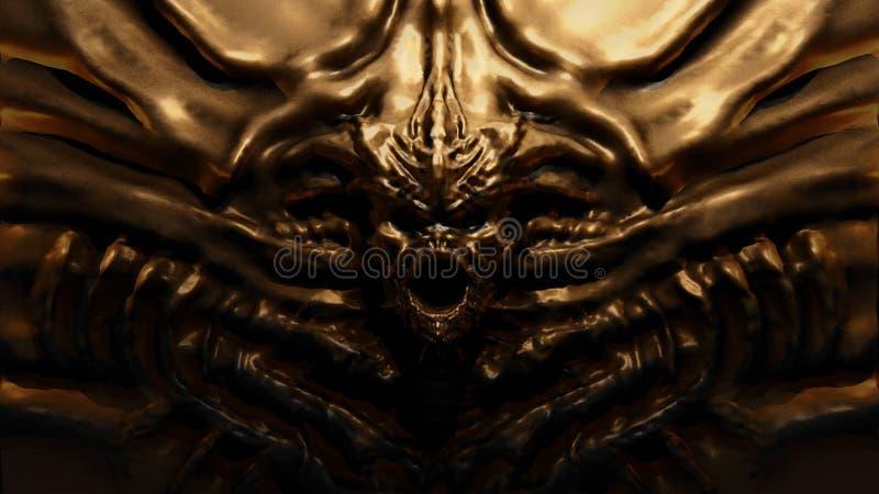 Monstro de bronze do bas-relevo com chifres ilustração 3D ilustração royalty free