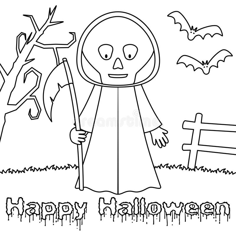 Monstro de Dia das Bruxas da coloração - Ceifador ilustração do vetor