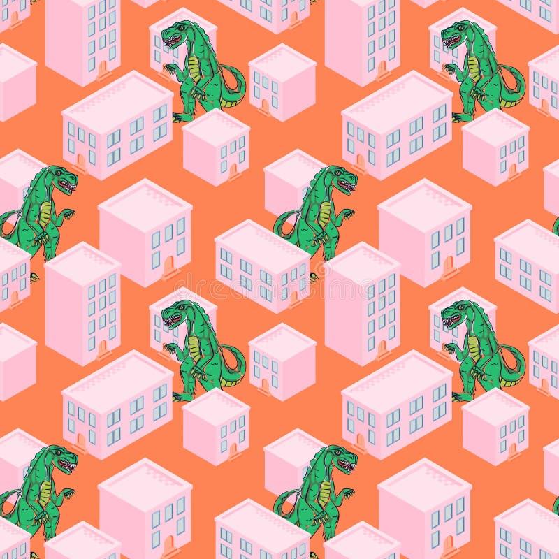 Monstro de Dino em um teste padrão sem emenda do vetor da cidade cor-de-rosa ilustração royalty free