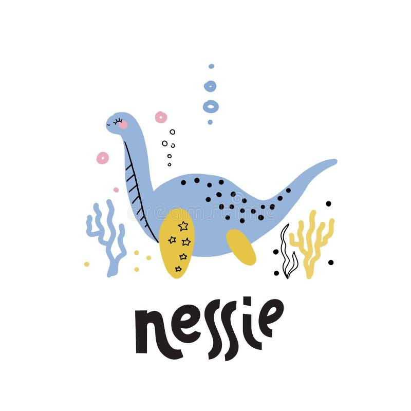 Monstro de Loch Ness Dinossauro tirado isolado dos desenhos animados do vetor da arte mão bonito no fundo branco Nessie do Loch n ilustração stock