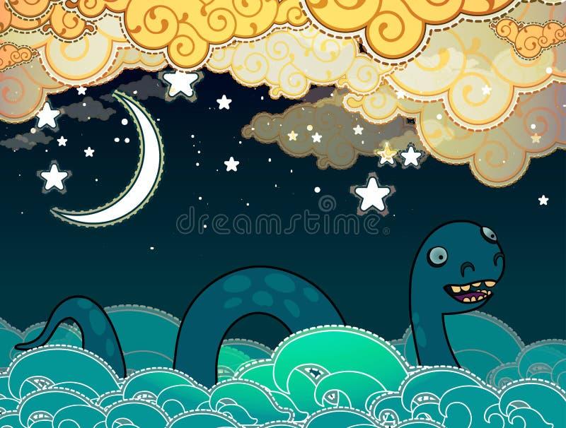 Monstro de Loch Ness do estilo dos desenhos animados ilustração stock
