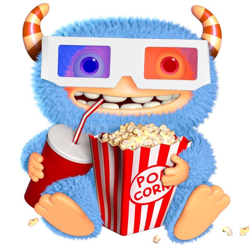 monstro do azul dos desenhos animados 3d ilustração royalty free