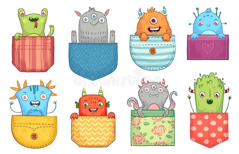 Monstro do bolso dos desenhos animados Os monstro engraçados em uns bolsos, em criaturas assustadores do Dia das Bruxas e em pouc ilustração royalty free