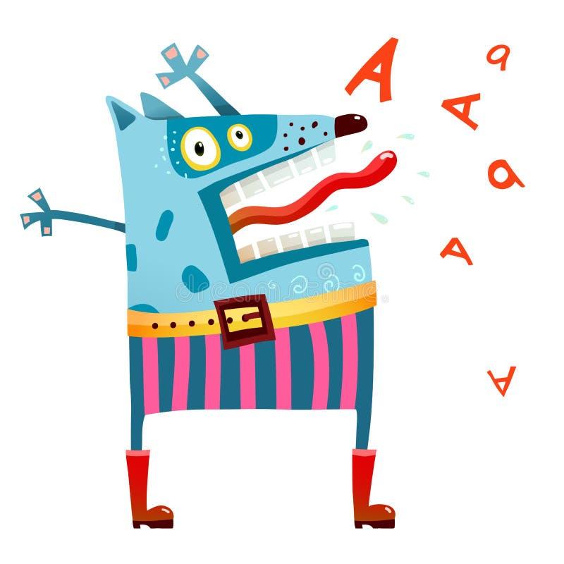 Monstro do cão nas calças que grita ilustração royalty free