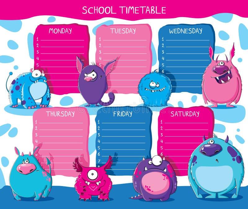Monstro do calendário da escola ilustração royalty free