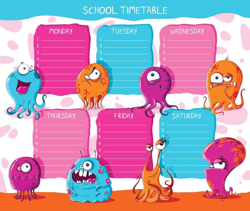 Monstro do calendário da escola Ilustração do vetor ilustração royalty free
