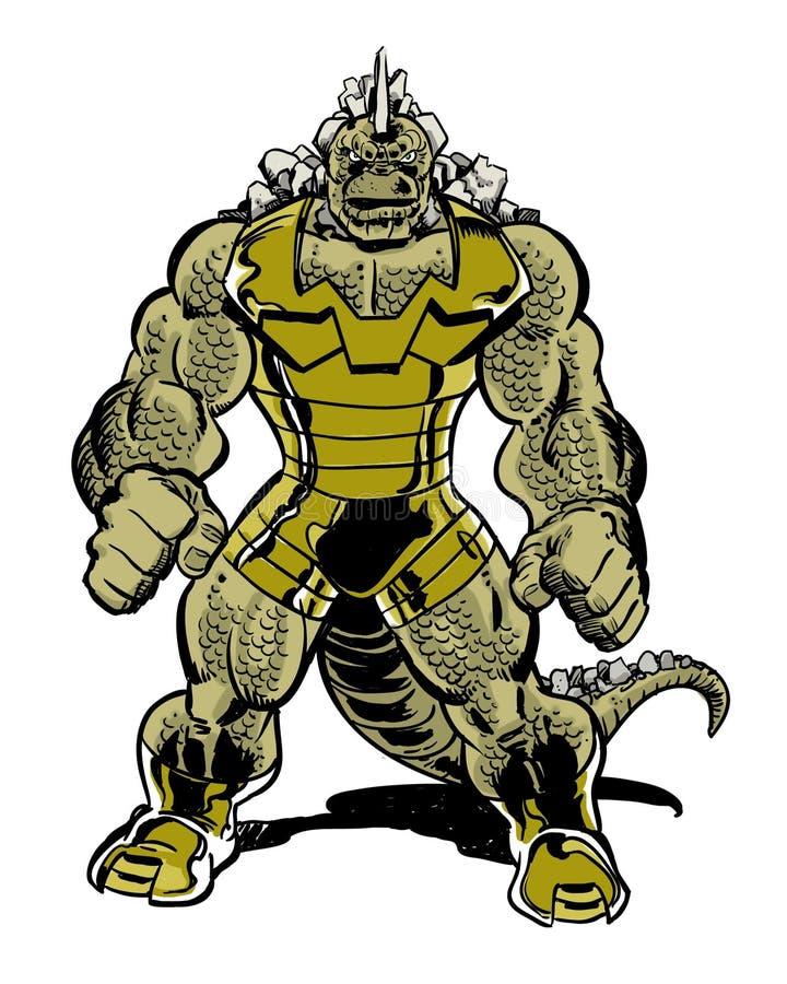 Monstro do caráter da banda desenhada do réptil com cauda ilustração royalty free