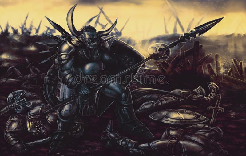 Monstro do cavaleiro armado com a lança ilustração do vetor