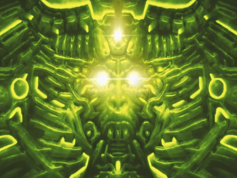 Monstro do computador com bas-relevo e cabeça de projeção do robô da mulher Fundo verde ilustração do vetor