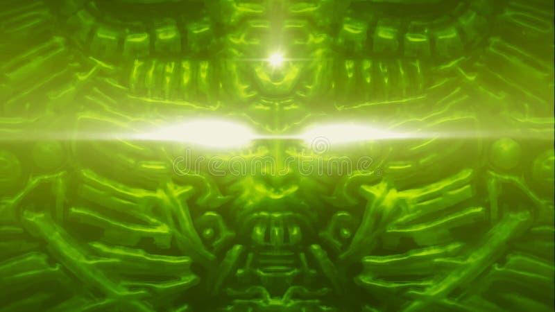 Monstro do computador com bas-relevo e cabeça de projeção do robô da mulher Fundo verde ilustração stock