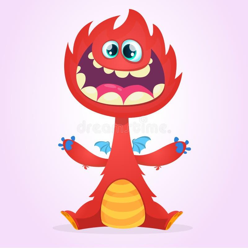 Monstro do dragão dos desenhos animados do vetor com asas minúsculas Caráter vermelho do dragão que acena suas mãos Ilustração ve ilustração royalty free