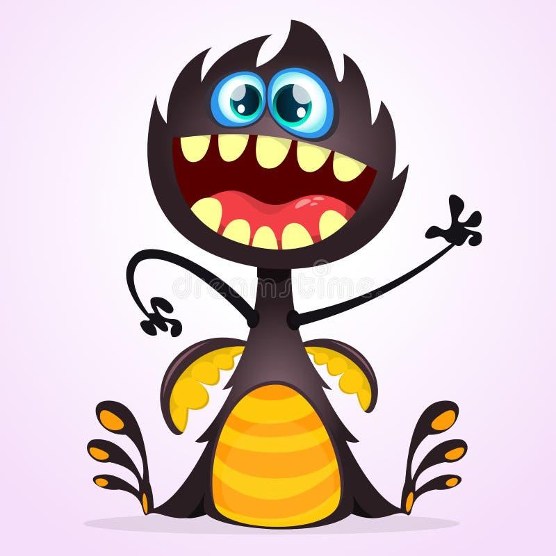 Monstro do dragão dos desenhos animados do vetor Ondulação do monstro do preto de Dia das Bruxas isolada ilustração royalty free