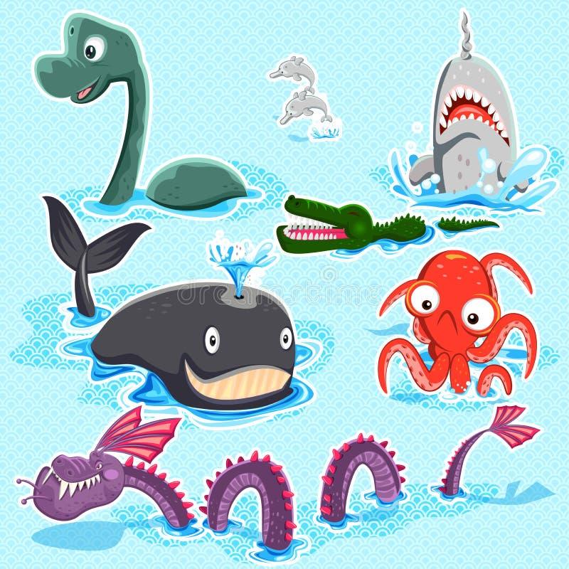Monstro do grupo azul profundo da coleção do mar ilustração royalty free