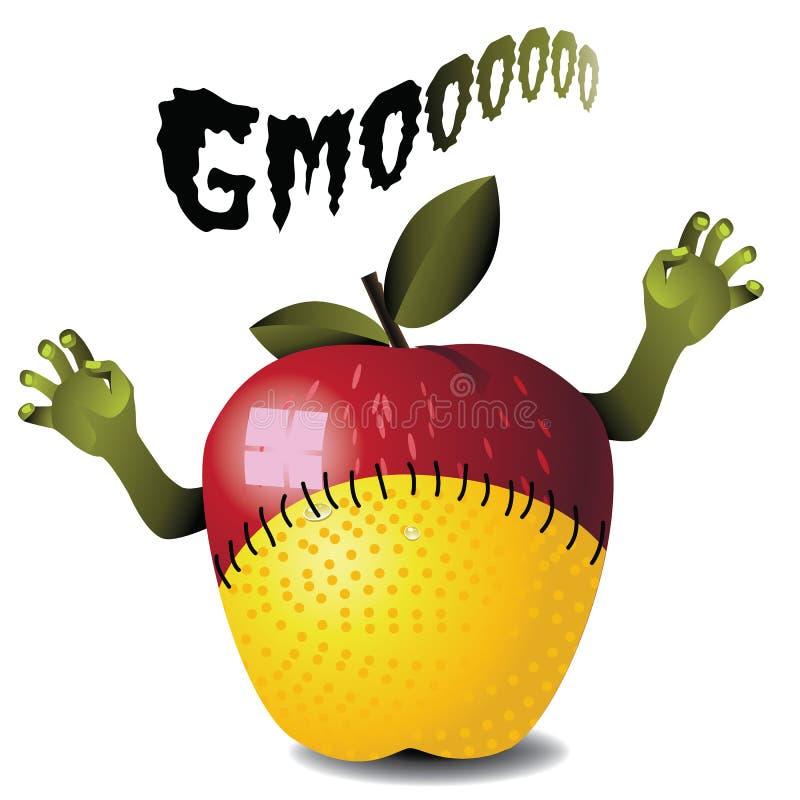 Monstro do limão da maçã do zombi de GMO ilustração stock