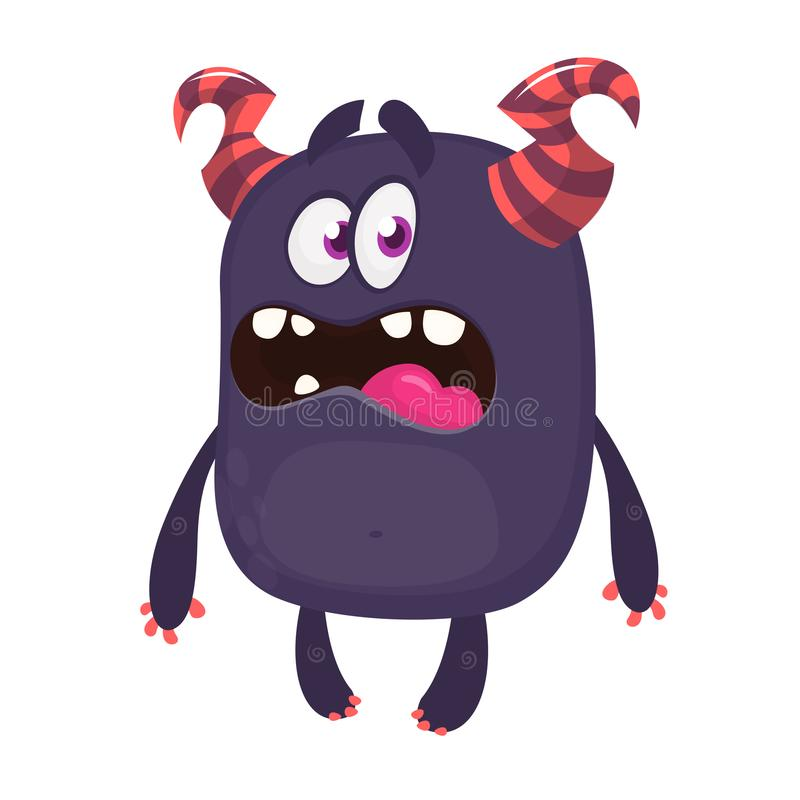 Monstro dos desenhos animados com a cara assustador da expressão Caráter do vetor ilustração stock