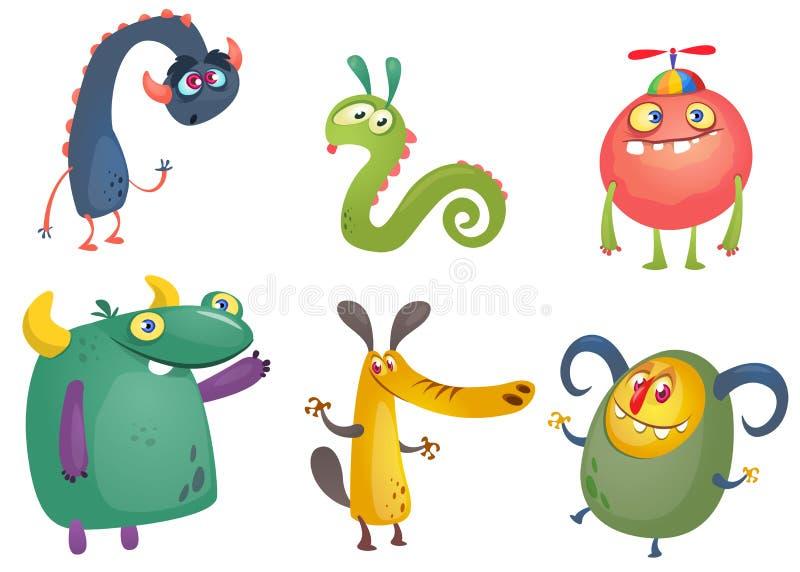 Monstro dos desenhos animados Grupo do vetor de monstro dos desenhos animados isolados ilustração royalty free