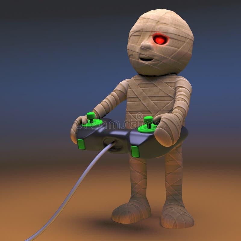 Monstro egípcio engraçado da mamã que joga um jogo de vídeo, ilustração 3d ilustração royalty free