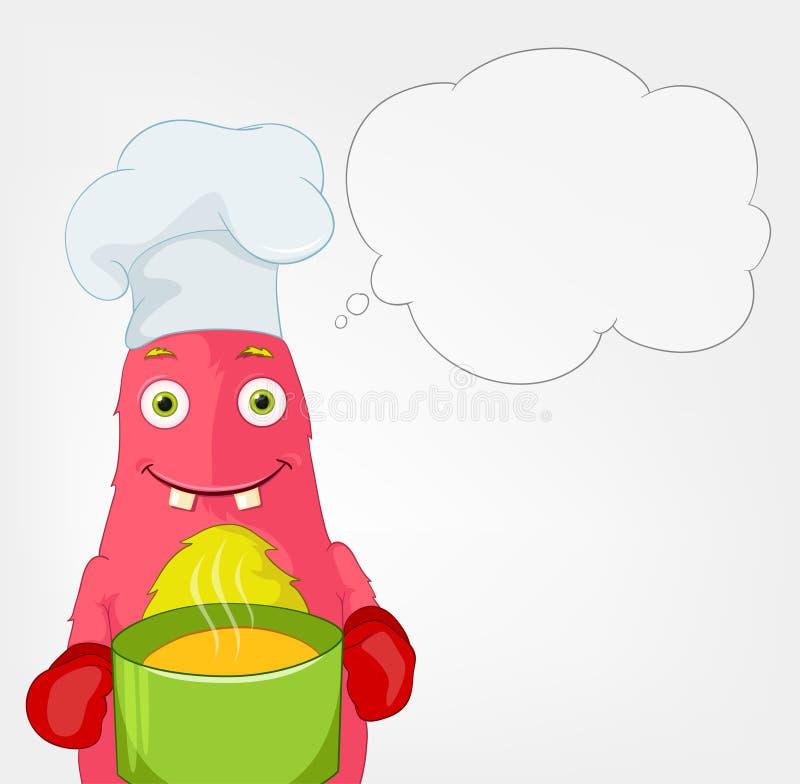 Monstro engraçado. Cozinheiro chefe. ilustração stock